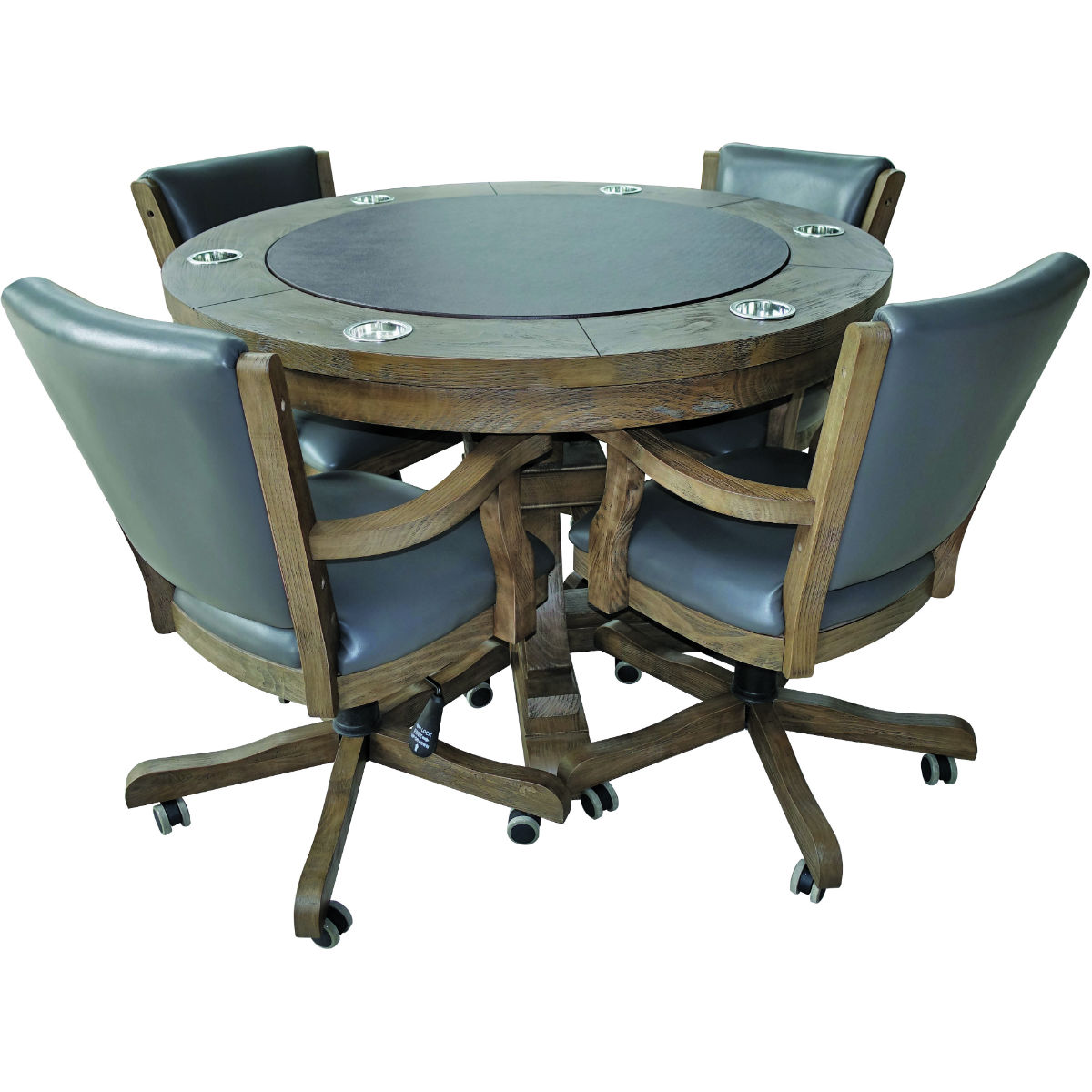 Beringer Hand Scaped Poker Table with 9 Executive Chairs